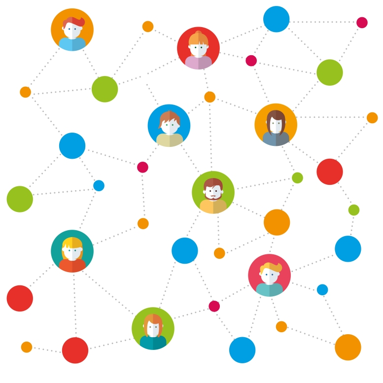 Team in social networks working vector illustration
